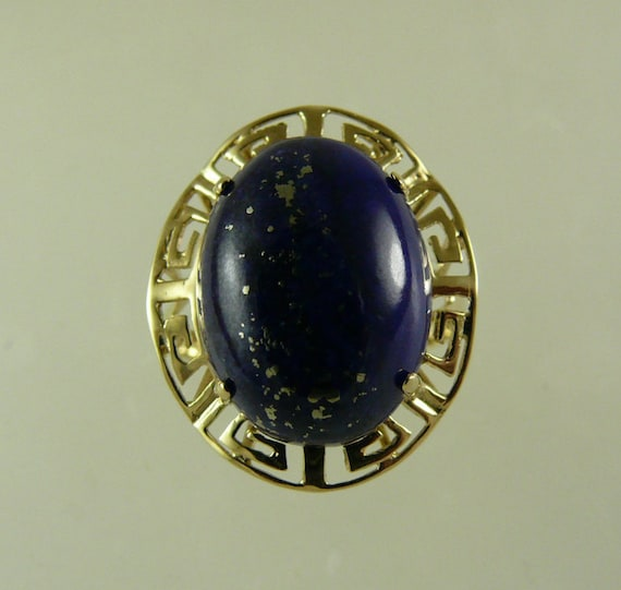 Lapis 16.1 x 12.2 mm Ring 14k Yellow Gold