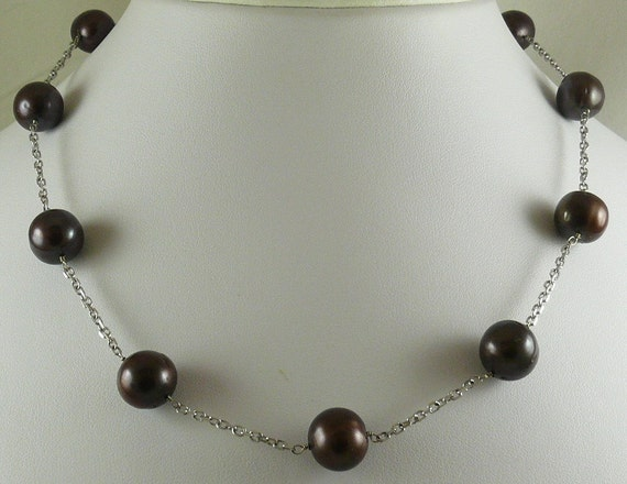 Freshwater Chocolate 11.9mm - 12.8mm Tin Cup Necklace 14k White Gold Chain