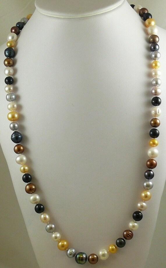 Freshwater Multi-Color Pearl Necklace, Earring & Bracelet Set w 14k White Gold