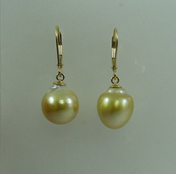 South Sea Golden Baroque Pearl Earring 14K Yellow Gold Lever Back