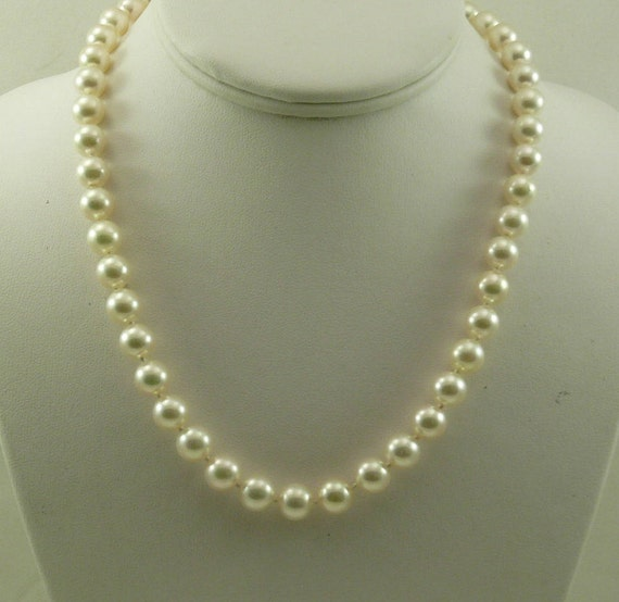 "Japanese Akoya 8.5mm - 8.9mm Pearl Necklace with 14k Yellow Gold Clasp 18"" Long"