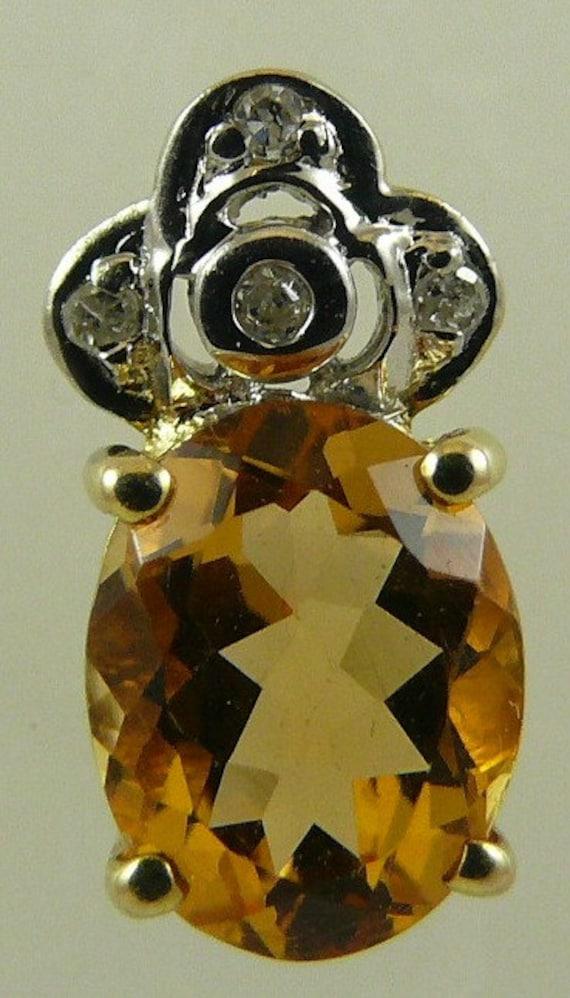 Citrine Pendant 14k Yellow Gold and Diamonds 0.04ct