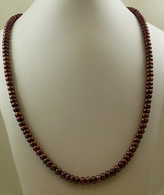 "Freshwater Chocolate 7.1 - 7.5 mm Pearl 37"" Long Necklace with Silver Fish Lock"