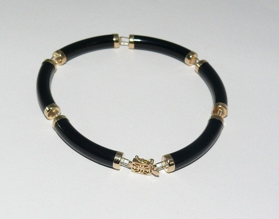 Black Onyx 4.8 mm x 26.6 mm Bracelet 14k Yellow Gold