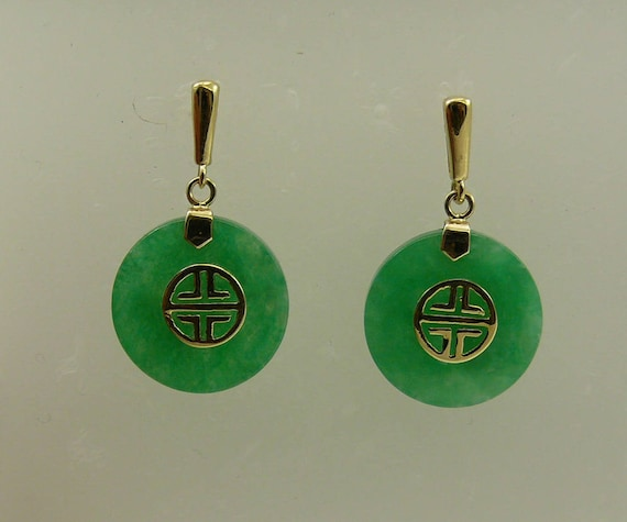 Green 15.2 mm Jade Earrings 14k Yellow Gold