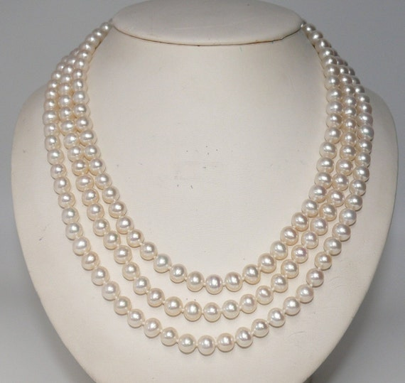 Freshwater White Pearl Triple Strand Necklace with 14k White Gold Clasp