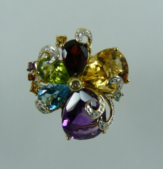 Multi-Color Gemstone Ring, 14K Yellow Gold and Diamonds 0.06ct