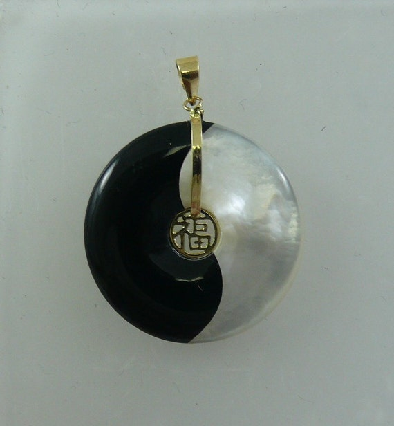Black Onyx and Mother of Pearl Yin & Yang Pendant 14k Yellow Gold