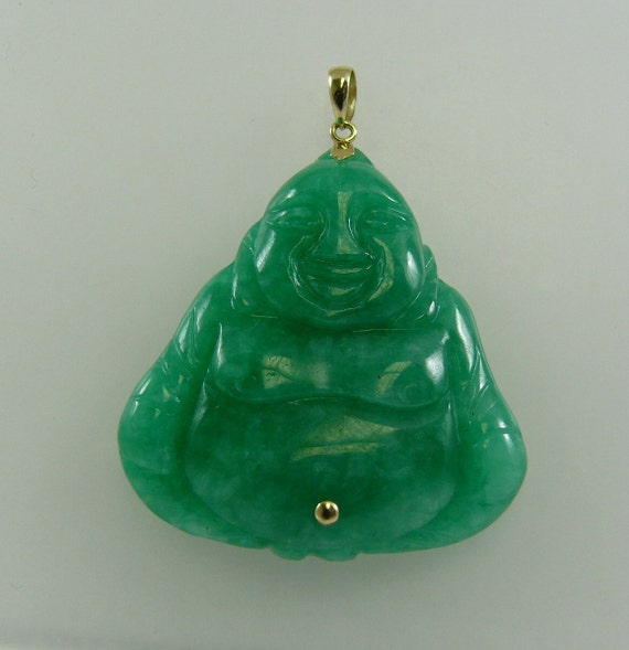 Green Jade 36 x 40 mm Buddha Pendant 14k Yellow Gold