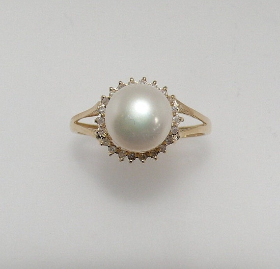Freshwater White 8.4 mm Pearl Ring with Diamonds 14k Yellow Gold