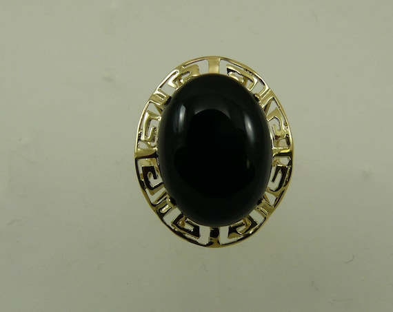 Black Onyx 12.2 x 16.3 mm Ring 14k Yellow Gold