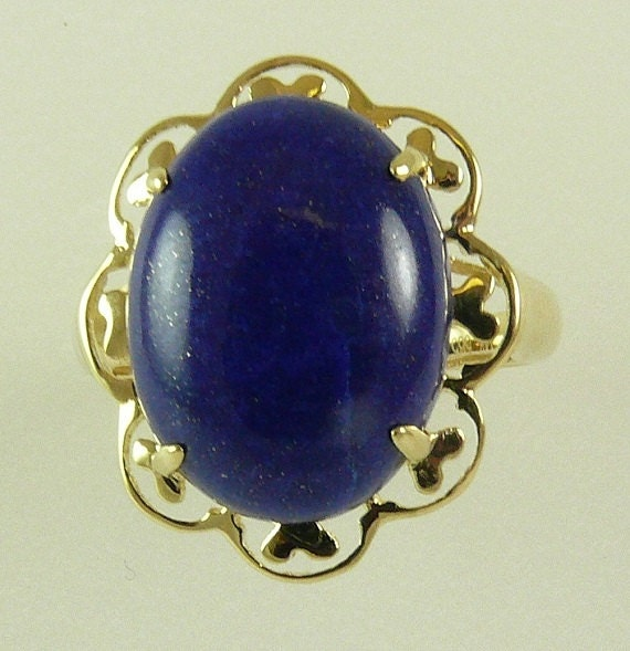 Lapis 12 mm x 16 mm Blue Ring 14k Yellow Gold