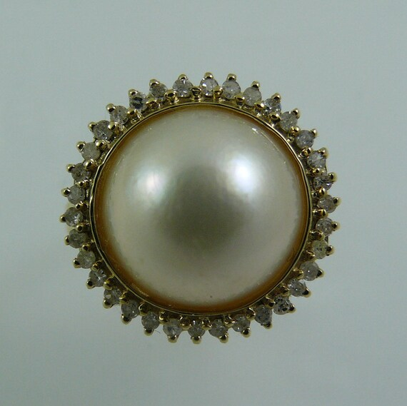 Mabe 11.5 mm White Pearl Ring 14k Yellow Gold and Diamonds 0.27ct
