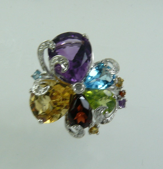 Multi-Color Gemstone Ring with 14K White Gold and Diamonds 0.06ct