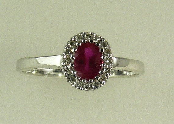 Ruby 0.42ct Ring 14k White Gold with Diamonds 0.08ct
