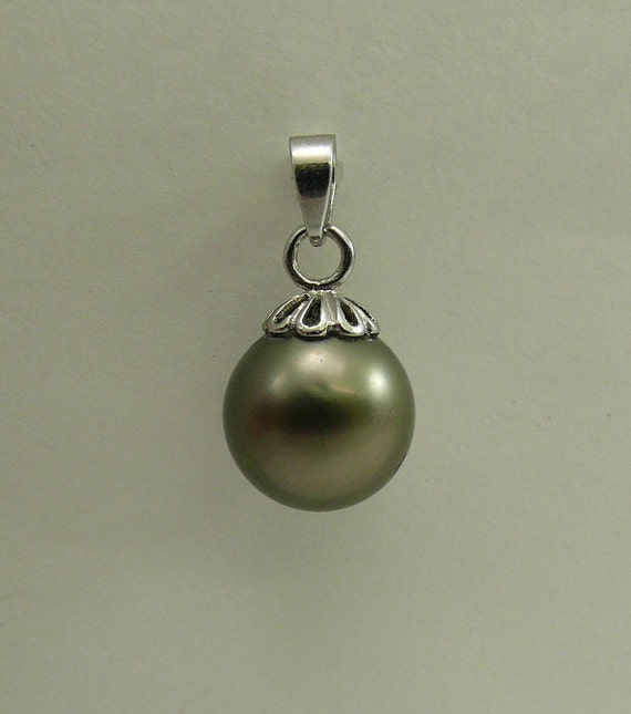 Tahitian Black Pearl 10.7 mm Pendant 14k White Gold