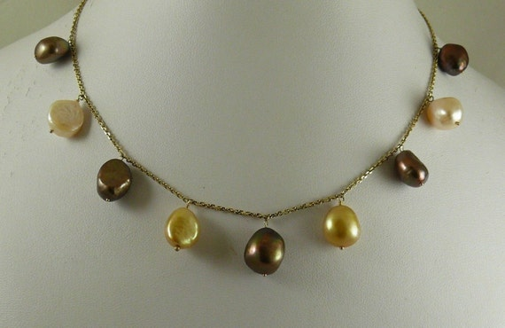 """Freshwater Multi-Color Nugget Pearl Necklace with 14K Yellow Gold,16"""" Long"""