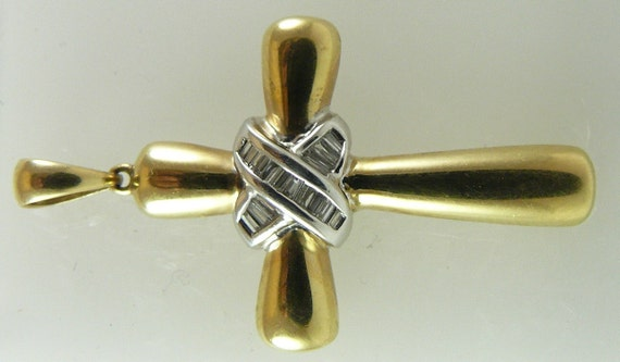Diamond 0.24ct Cross Pendant 14k Yellow & White Gold