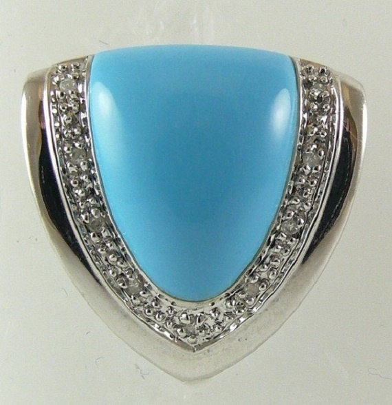Reconstituted Turquoise 15.8mm x 12.2mm Pendant 14K White Gold & Diamonds 0.04ct