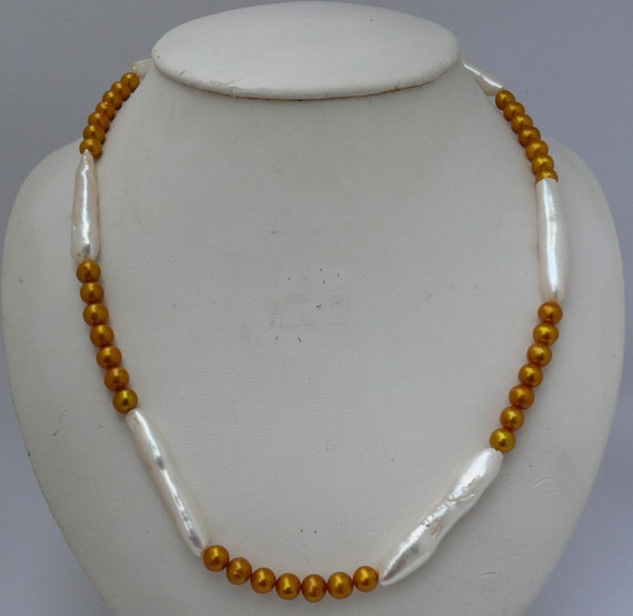 Freshwater Golden & White Pearl Necklace with Sterling Silver Clasp