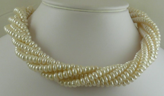 "Fresh Water White Pearl Necklace 6.3x3.4mm 17"" 6 Strand"
