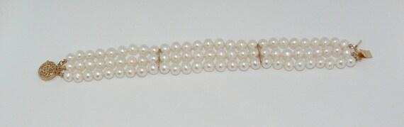 Freshwater White Pearl Triple Strand Bracelet 14k Yellow Gold Clasp