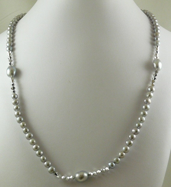 Freshwater Grey Pearl Necklace with Comet Crystal 34 Inches