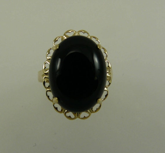 Black Onyx 16.2 x 12.1 mm Ring 14k Yellow Gold