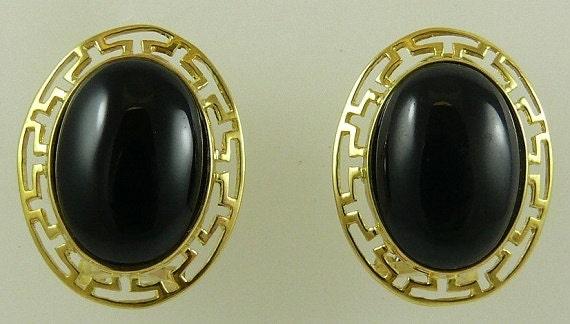 Black Onyx 13.7 x 10.0mm Earrings 14k Yellow Gold