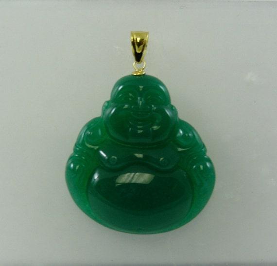Green Jade Buddha Pendant 14k Yellow Gold