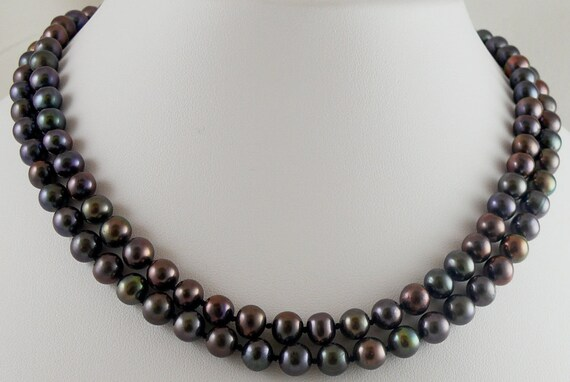 Freshwater Black Pearl Double Strand Necklace with 14k White Gold Clasp