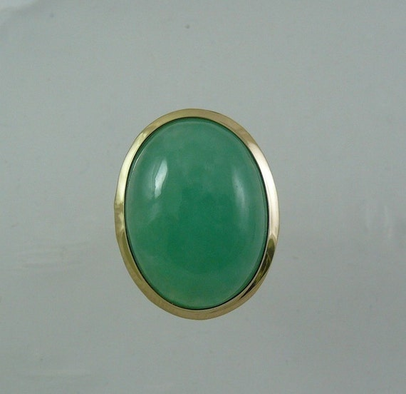 Green Jade 19.8 x 14.9 mm Ring 14k Yellow Gold