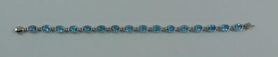 Blue Topaz Bracelet 7 1/4 Inches 14k White Gold