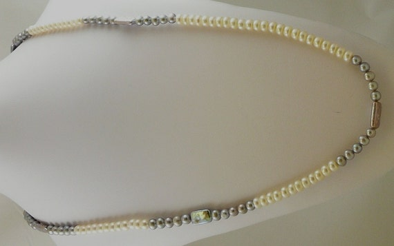 Freshwater White and Gray Pearl 6-8mm Necklace 49""
