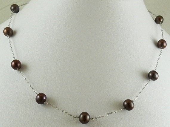 """Freshwater Chocolate 7.5mm - 8.1mm Pearl Necklace 14k White Gold Chain 18"""""""