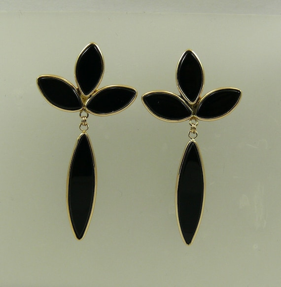 Black Onyx Earrings 14k Yellow Gold