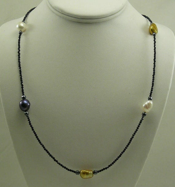 """Freshwater Pearl Spinel & Hematite Necklace with Sterling Silver Clasp 41"""""""