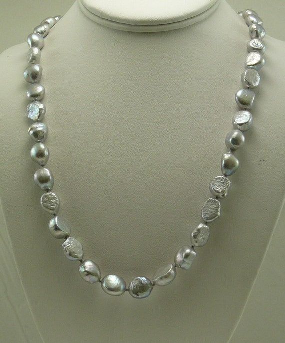 Freshwater Gray Baroque Pearl Necklace 14K White Gold Fish Lock 36""