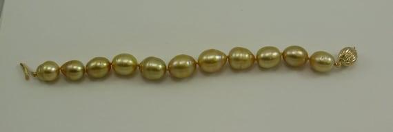 "Golden South Sea Baroque Pearl Bracelet 14K Yellow Gold Clasp, 7 1/4"" Long"
