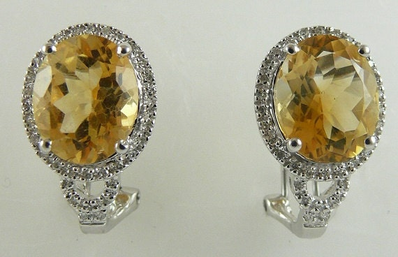 Citrine 6.09cts Earring with Diamonds 0.17cts 14k White Gold