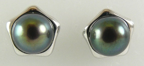 Freshwater Black 8 mm Pearl Stud Earrings With 14k White Gold Post and Push Backs