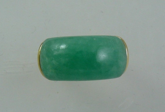 Green Jade 9 x 20 mm Ring 14k Yellow Gold
