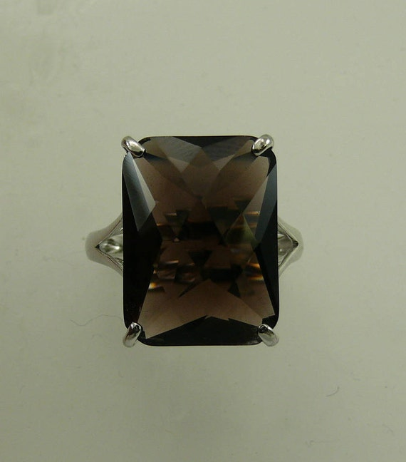 Smokey Topaz 14.5ct Ring with Sterling Silver Setting
