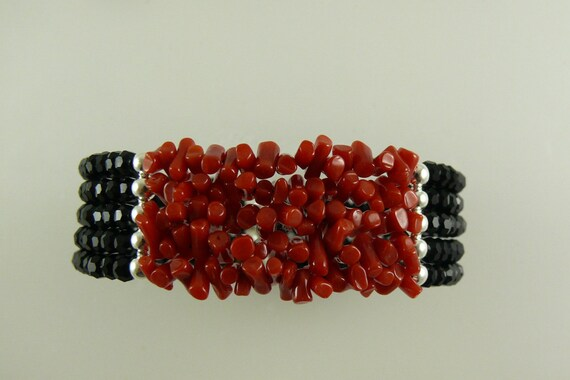 Italian Coral and Faceted Black Onyx 5 Strand Cuff Bangle set in Sterling Silver