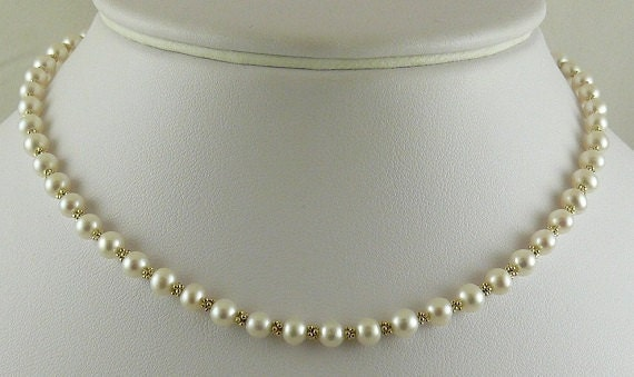 Freshwater White Semi-Round Pearl Tin Cup Necklace 14k YG Fancy Beads & Chain