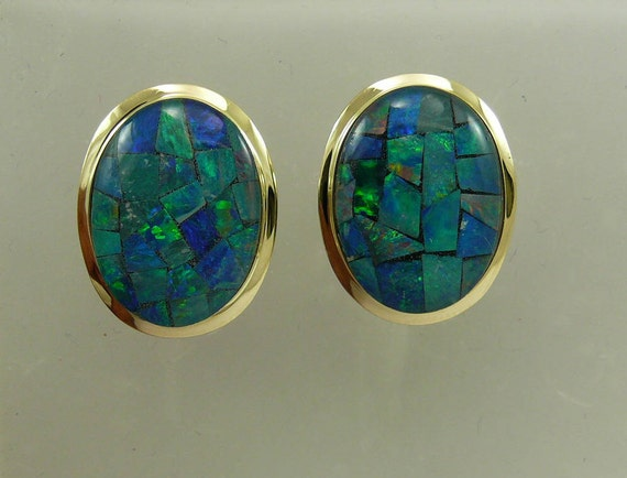 Mosaic 13.0 mm x 17.8 mm Opal Earring with 14k Yellow Gold