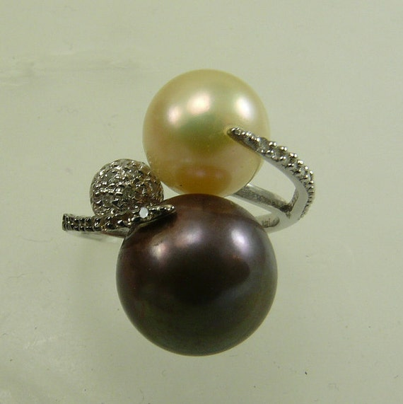 Freshwater Light Golden and Brown Pearl Ring with 14k White Gold & Diamonds 0.21ct