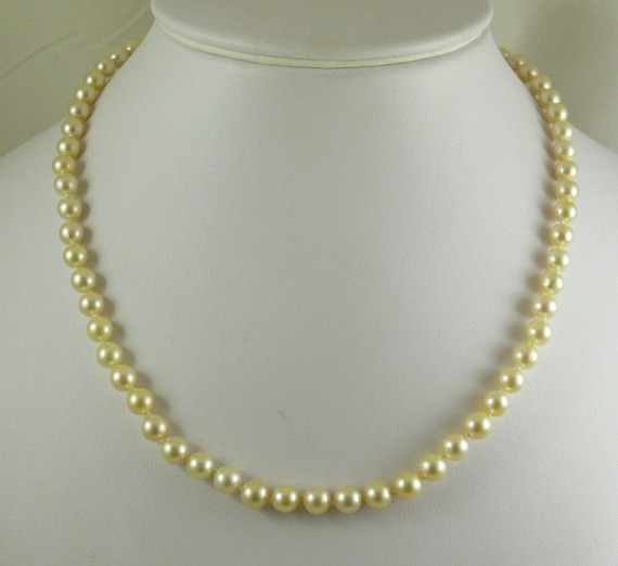 Akoya Light Gold Pearl Necklace 14k White Gold Clasp