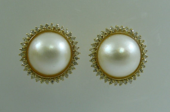 Mabe 11.7 mm White Pearl Earrings with 14k Yellow Gold and Diamonds 0.54ct