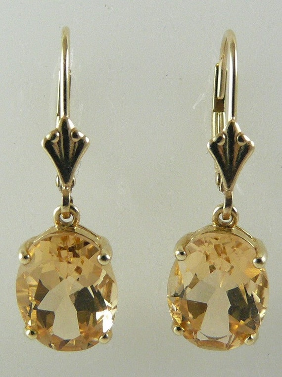 Citrine 4.88ct Earring 14k Yellow Gold Lever Backs
